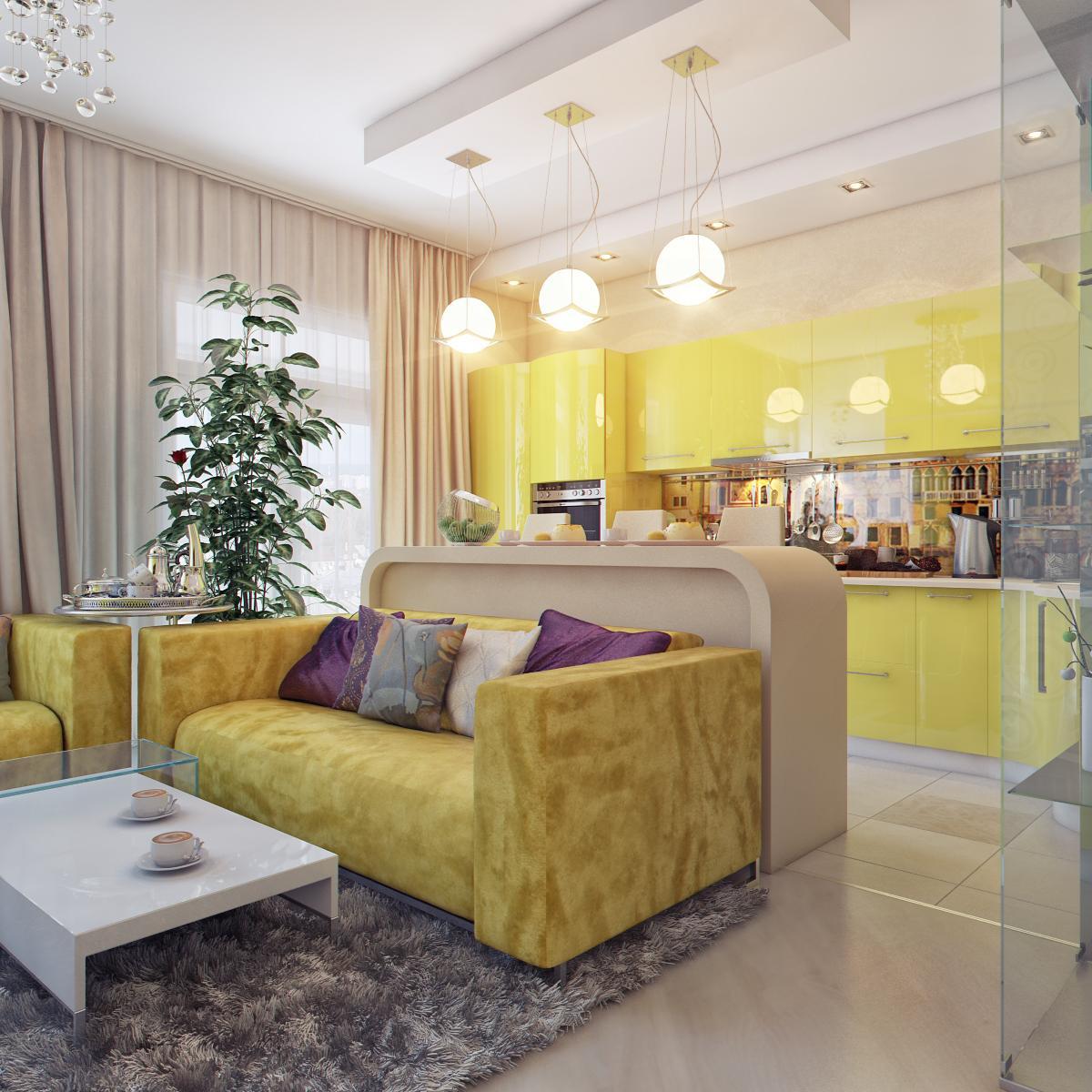 Как продумать дизайн кухни совмещенной с гостиной в хрущевке.