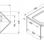 Чертеж трапециевидного углового кухонного шкафа с размещением мойки