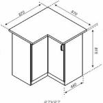 Чертеж приставного углового кухонного шкафа