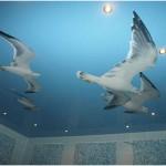 натяжной потолок с рисунком птиц