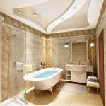 Фигурный потолок с гипсокартоном в ванной