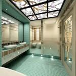 Витражный потолок в ванной