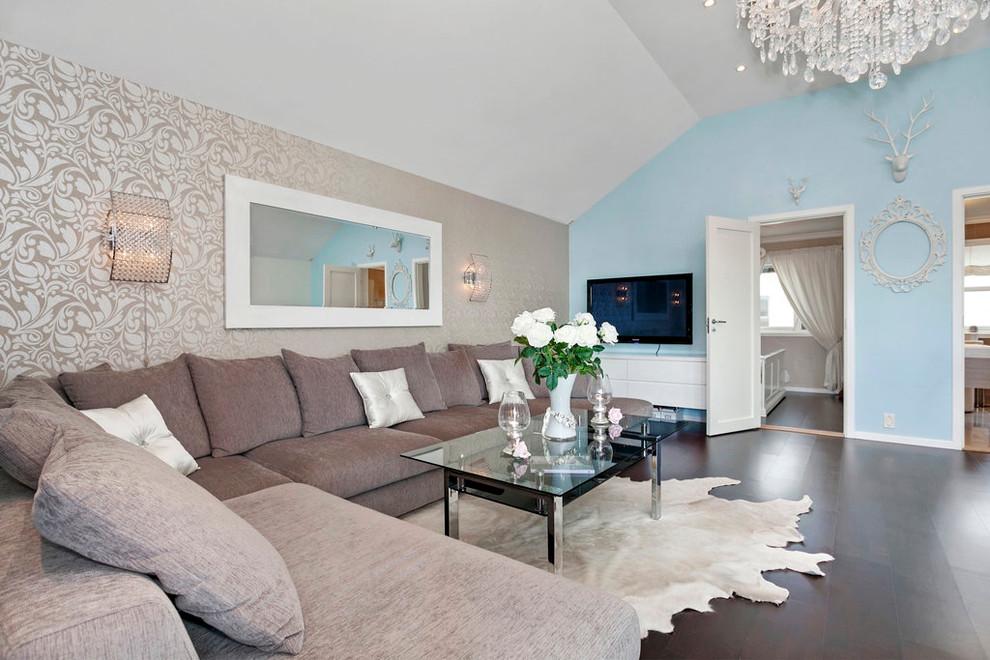 Интерьер гостиной: обои для зала, варианты комбинирования ... искусственный камень в интерьере зала