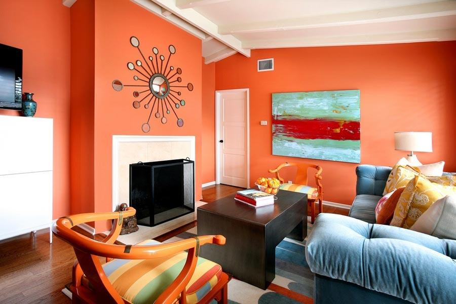 Дизайн интерьера квартиры в оранжевых тонах