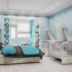 Спальня с эркерным окном и двумя детскими кроватками