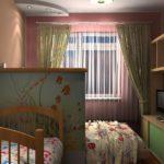 Тканевая ширма до середины стены в спальне