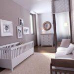 Сиреневая спальня с детской кроваткой