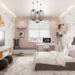 Детская комната в скандинавском стиле в розовых тонах