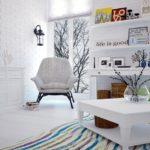 Белая гостиная в скандинавском стиле в кирпичном доме