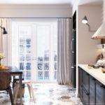 Дизайн кухни в скандинавском стиле с большим окном