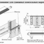 Чертёж бетонного основания для откатных консольных ворот