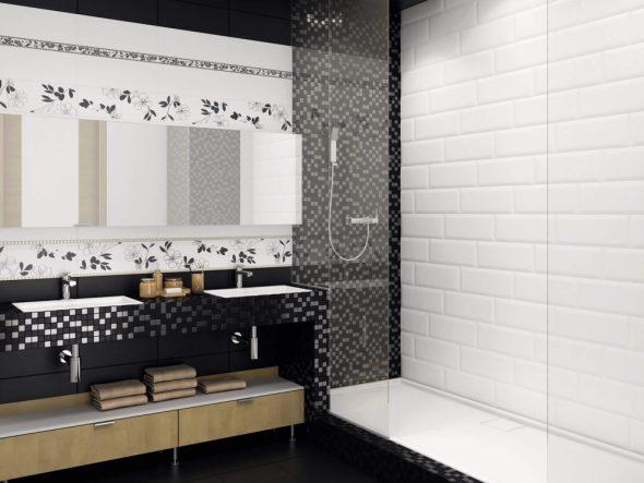 Дизайн ванной в черно-белых тонах